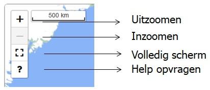 Uitleg functies linksboven de kaart