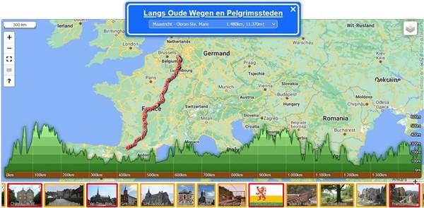 De kaart van de geselecteerde route